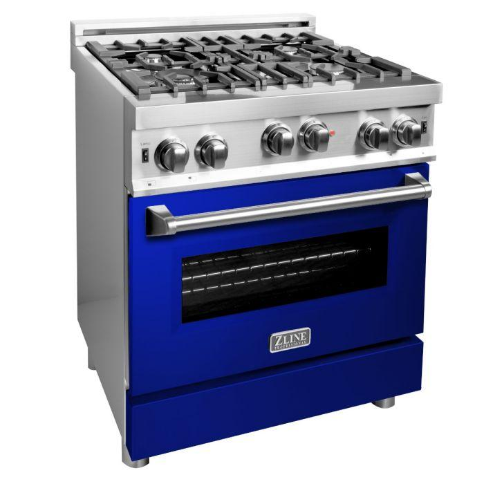 ZLINE 30 in. Professional Gas no Gas Range in Stainless Steel with Blue Gloss Door (RG-BG-30) - Bison Kitchens