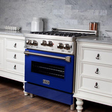 Load image into Gallery viewer, ZLINE 30 in. Professional Gas no Gas Range in Stainless Steel with Blue Gloss Door (RG-BG-30) - Bison Kitchens