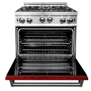 ZLINE 30 in. Professional Gas on Gas Range in Stainless Steel Red Gloss Door (RG-RG-30) - Bison Kitchens