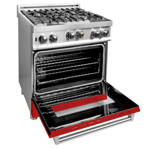 ZLINE 30 in. Professional Gas on Gas Range in Stainless Steel Red Matte Door (RG-RM-30) - Bison Kitchens