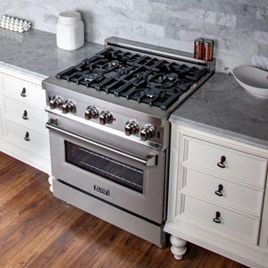ZLINE 30 in. Professional Gas on Gas Range Stainless Steel with Snow Stainless Door (RG-SN-30) - Bison Kitchens