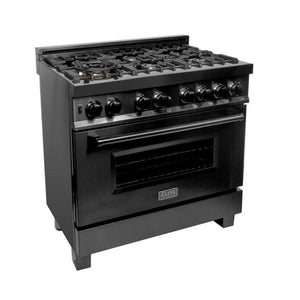 ZLINE 36 in. Black Stainless 4.0 cu.ft. 4 Gas Burner/Electric Oven Range (RAB-36) - Bison Kitchens