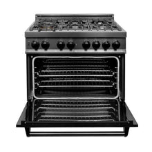 Load image into Gallery viewer, ZLINE 36 in. Black Stainless 4.0 cu.ft. 4 Gas Burner/Electric Oven Range (RAB-36) - Bison Kitchens
