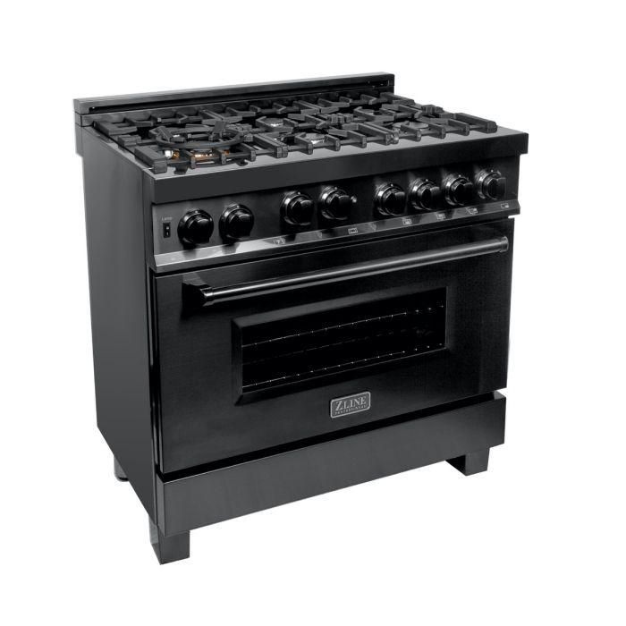 ZLINE 36 in. Professional 4.0 cu. Ft. 4 Gas on Gas Range in Black Stainless Steel (RGB-36) - Bison Kitchens