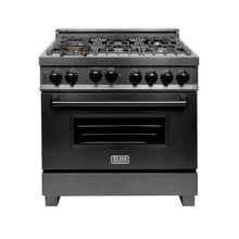 Load image into Gallery viewer, ZLINE 36 in. Professional 4.0 cu. Ft. 4 Gas on Gas Range in Black Stainless Steel (RGB-36) - Bison Kitchens