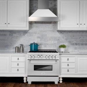Ranges - ZLINE 36 In. Professional 4.0 Cu. Ft. 4 Gas On Gas Range In Durasnow® Stainless Steel With Brass Burners - (RGS-SN-BR-36)