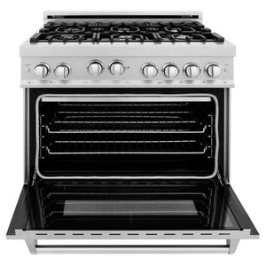Ranges - ZLINE 36 In. Professional 4.6 Cu. Ft. 4 Gas On Gas Range In Durasnow® Stainless Steel - (RGS-SN-36)