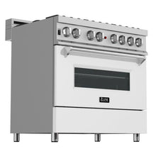 Load image into Gallery viewer, ZLINE 36 in. Professional Dual Fuel Range In Durasnow® Stainless Steel With White Matte Door (RAS-WM-36) - Bison Kitchens