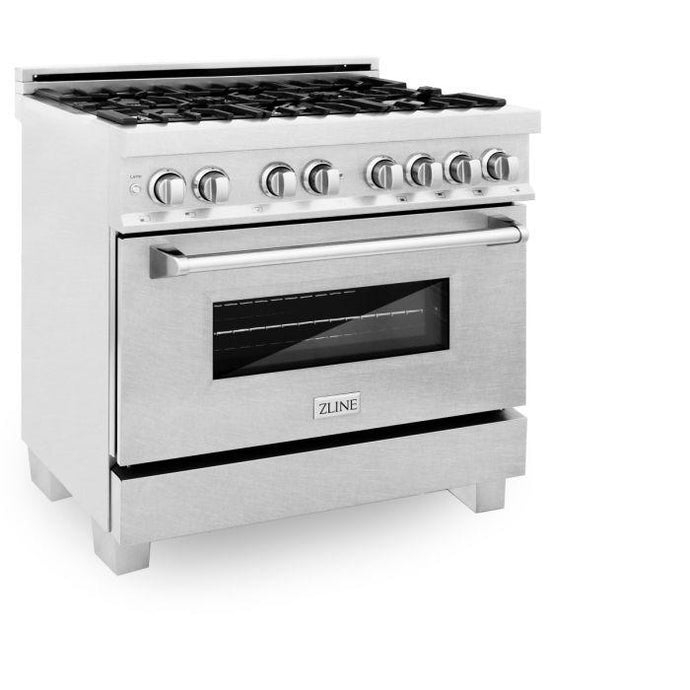 Ranges - ZLINE 36 In. Professional Dual Fuel Range In Durasnow® Stainless With Durasnow® Stainless Door - (RAS-SN-36)