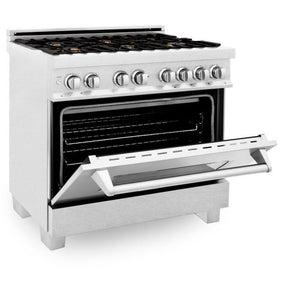 Ranges - ZLINE 36 In. Professional Dual Fuel Range In Durasnow® Stainless With Durasnow® Stainless Door - (RAS-SN-BR-36)