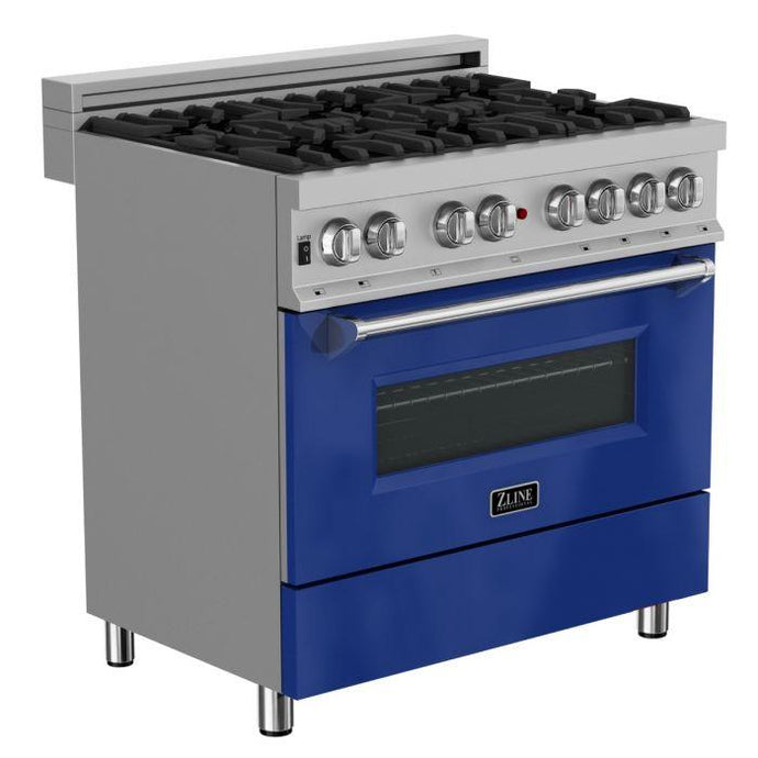 ZLINE 36 in. Professional Dual Fuel Range in Snow Stainless with Blue Gloss Door (RAS-BG-36) - Bison Kitchens