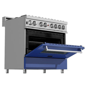 ZLINE 36 in. Professional Dual Fuel Range in Snow Stainless with Blue Matte Door (RAS-BM-36) - Bison Kitchens
