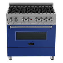 Load image into Gallery viewer, ZLINE 36 in. Professional Dual Fuel Range in Snow Stainless with Blue Matte Door (RAS-BM-36) - Bison Kitchens