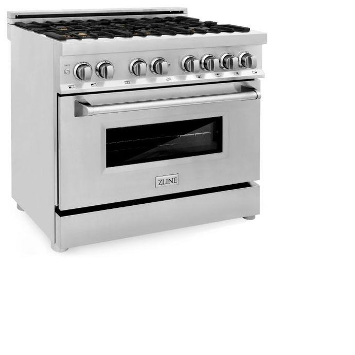 Ranges - ZLINE 36 In. Professional Dual Fuel Range In Stainless Steel With Brass Burners - (RA-BR-36)