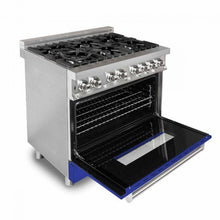 Load image into Gallery viewer, ZLINE 36 in. Professional Dual Fuel Range with Blue Matte Door (RA-BM-36) - Bison Kitchens