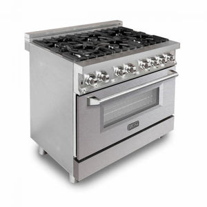 ZLINE 36 in. Professional Dual Fuel Range With Durasnow® Finish Door (RA-SN-36) - Bison Kitchens