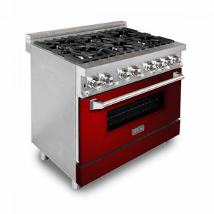 ZLINE 36 in. Professional Dual Fuel Range With Red Gloss Door (RA-RG-36) - Bison Kitchens