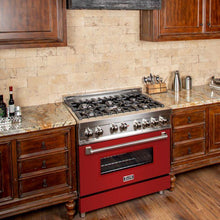 Load image into Gallery viewer, ZLINE 36 in. Professional Gas on Gas Range in Stainless Steel Red Matte Door (RG-RM-36) - Bison Kitchens