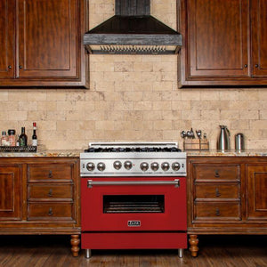 ZLINE 36 in. Professional Gas on Gas Range in Stainless Steel Red Matte Door (RG-RM-36) - Bison Kitchens
