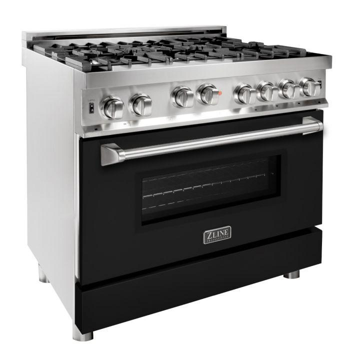 ZLINE 36 in. Professional Gas on Gas Range in Stainless Steel with Black Matte Door (RG-BLM-36) - Bison Kitchens