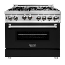 Load image into Gallery viewer, ZLINE 36 in. Professional Gas on Gas Range in Stainless Steel with Black Matte Door (RG-BLM-36) - Bison Kitchens