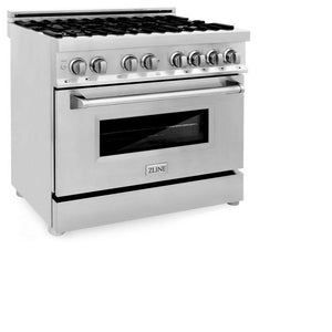 ZLINE 36 in. Professional Stainless Steel Dual Fuel 4 Gas Burner/Electric Oven Range (RA36) - Bison Kitchens