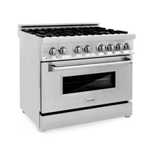 Load image into Gallery viewer, ZLINE 36 in. Professional Stainless Steel Dual Fuel 4 Gas Burner/Electric Oven Range (RA36) - Bison Kitchens