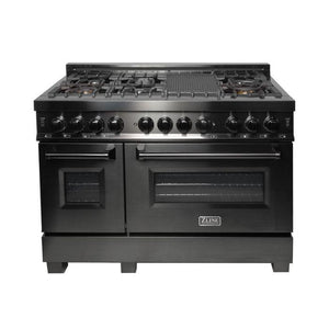ZLINE 48 in. Black Stainless 4.0 cu.ft. 4 Gas Burner/Electric Oven Range (RAB-48) - Bison Kitchens