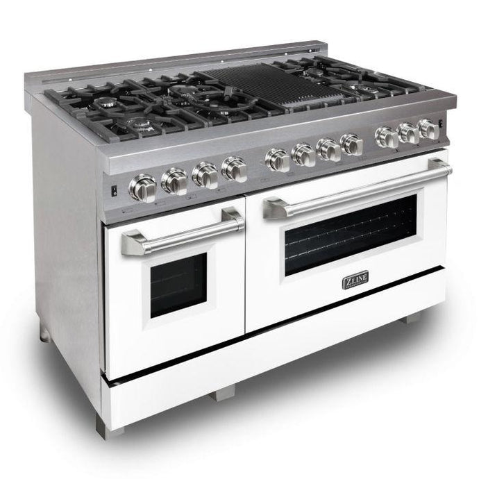 ZLINE 48 in. Professional Dual Fuel Range In Durasnow® Stainless Steel With White Matte Door (RAS-WM-48) - Bison Kitchens