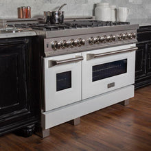 Load image into Gallery viewer, ZLINE 48 in. Professional Dual Fuel Range In Durasnow® Stainless Steel With White Matte Door (RAS-WM-48) - Bison Kitchens