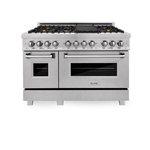 Ranges - ZLINE 48 In. Professional Dual Fuel Range In Durasnow® Stainless With Durasnow® Stainless Door - (RAS-SN-BR-48)