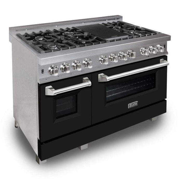 ZLINE 48 in. Professional Dual Fuel Range in Snow Stainless Black Matte Door (RAS-BLM-48) - Bison Kitchens
