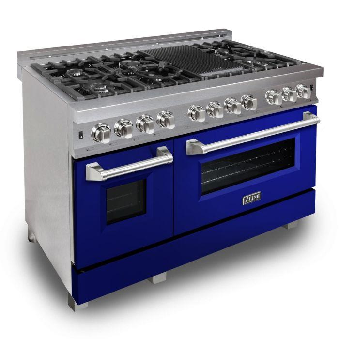 ZLINE 48 in. Professional Dual Fuel Range in Snow Stainless with Blue Gloss Door (RAS-BG-48) - Bison Kitchens