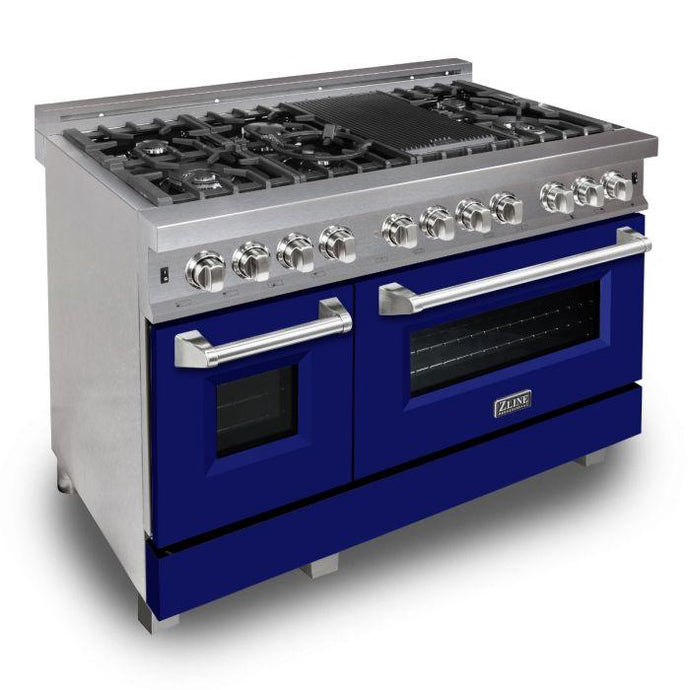 ZLINE 48 in. Professional Dual Fuel Range in Snow Stainless with Blue Matte Door (RAS-BM-48) - Bison Kitchens