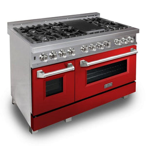 ZLINE 48 in. Professional Dual Fuel Range in Snow Stainless with Red Gloss Door (RAS-RG-48) - Bison Kitchens