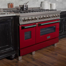 Load image into Gallery viewer, ZLINE 48 in. Professional Dual Fuel Range in Snow Stainless with Red Gloss Door (RAS-RG-48) - Bison Kitchens