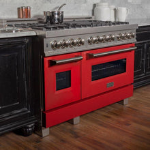Load image into Gallery viewer, ZLINE 48 in. Professional Dual Fuel Range in Snow Stainless with Red Matte Door (RAS-RM-48) - Bison Kitchens