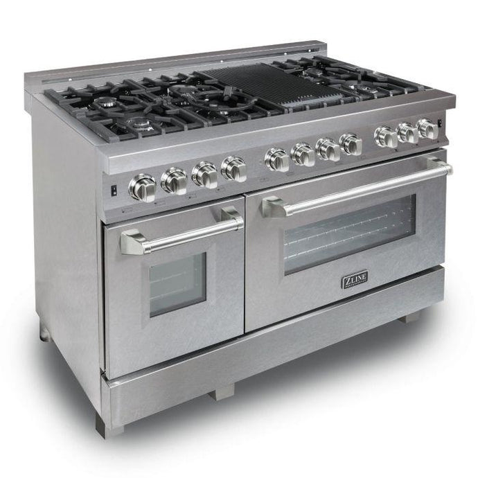 ZLINE 48 in. Professional Dual Fuel Range in Snow Stainless with Snow Stainless Door (RAS-SN-48) - Bison Kitchens