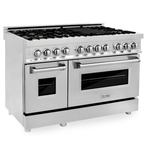 Ranges - ZLINE 48 In. Professional Dual Fuel Range In Stainless Steel With Brass Burners - (RA-BR-48)
