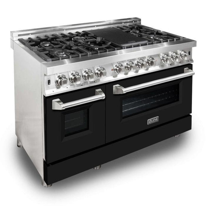 ZLINE 48 in. Professional Dual Fuel Range With Black Matte Door (RA-BLM-48) - Bison Kitchens