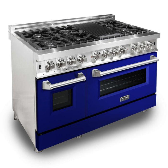 ZLINE 48 in. Professional Dual Fuel Range With Blue Gloss Door (RA-BG-48) - Bison Kitchens