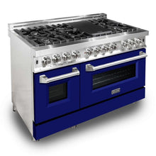 Load image into Gallery viewer, ZLINE 48 in. Professional Dual Fuel Range with Blue Matte Door (RA-BM-48) - Bison Kitchens