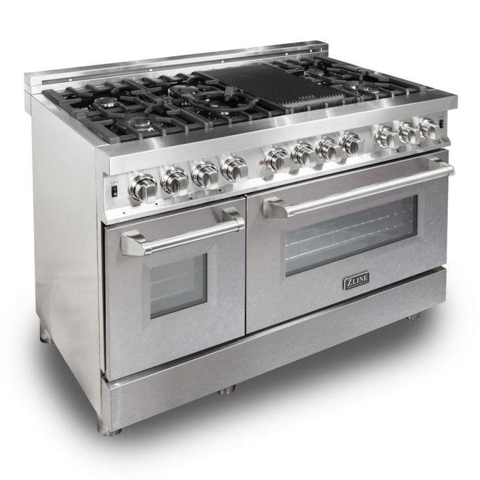 ZLINE 48 in. Professional Dual Fuel Range With Durasnow® Finish Door (RA-SN-48) - Bison Kitchens