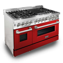 Load image into Gallery viewer, ZLINE 48 in. Professional Dual Fuel Range With Red Gloss Door (RA-RG-48) - Bison Kitchens