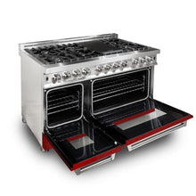 Load image into Gallery viewer, ZLINE 48 in. Professional Dual Fuel Range with Red Matte Door (RA-RM-48) - Bison Kitchens