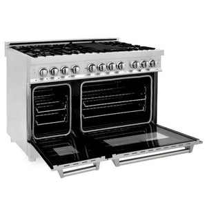 ZLINE 48 in. Professional Stainless Steel Dual Fuel 4 Gas Burner/Electric Oven Range (RA48) - Bison Kitchens