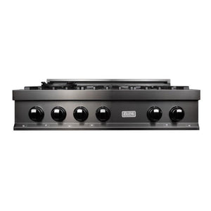 ZLINE 36 in. Porcelain Rangetop in Black Stainless with 6 Gas Burners (RTB-36) - Bison Kitchens