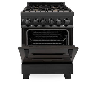 ZLINE 24 in. Black Stainless 4 Gas Burner/Electric Oven Range Brass Burners - (RAB-BR-24)