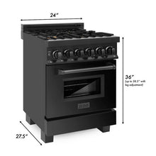 Load image into Gallery viewer, ZLINE 24 in. Black Stainless 4 Gas Burner/Electric Oven Range Brass Burners - (RAB-BR-24)