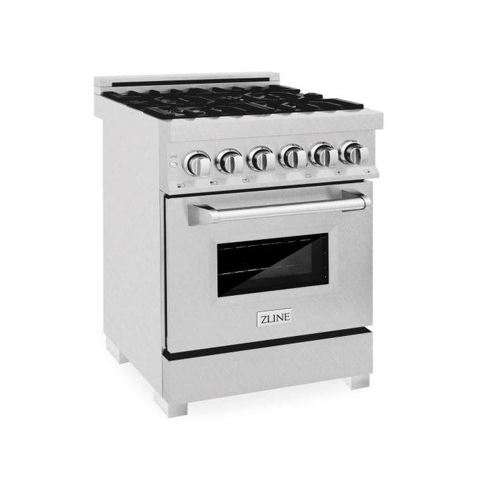 ZLINE 24 in. Professional Dual Fuel Range in Durasnow® Stainless with Durasnow® Stainless Door - (RAS-SN-24)